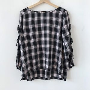 LOFT pink, white, and black plaid top